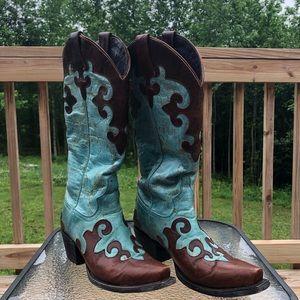 """Lane Turquoise/Brown """"Dawson"""" Cowboy Boots SZ 6B"""